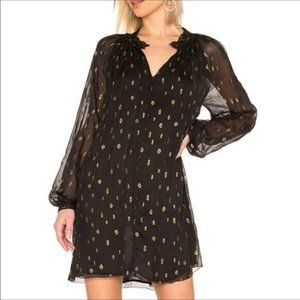 FRAME Smocked Long Sleeve Metallic Dress